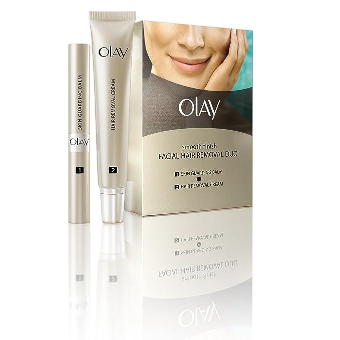Olay Duo - Kit de crema depilatoria facial, acabado suave, para vello de fino a medio, 1 kit: Amazon.es: Belleza