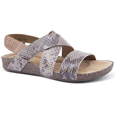 a9ccb213128793 Clarks Ladies Perri Dunes Taupe Snake Flat Sandals Size 7  Amazon.co ...