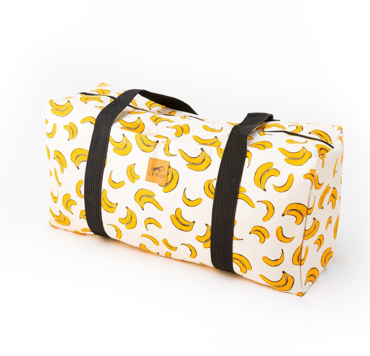 Canvas Duffel Bag - 20 Liter Gym Tote, Foldable Overnight Travel Weekend Luggage by Lemur Bags (Bananas)
