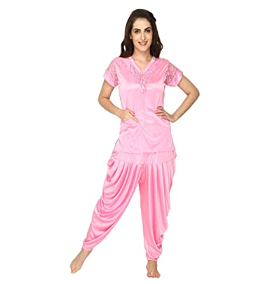 6d693e9a11c Pretty Awesome Women s Satin Patiala Night Suit  Amazon.in  Clothing ...