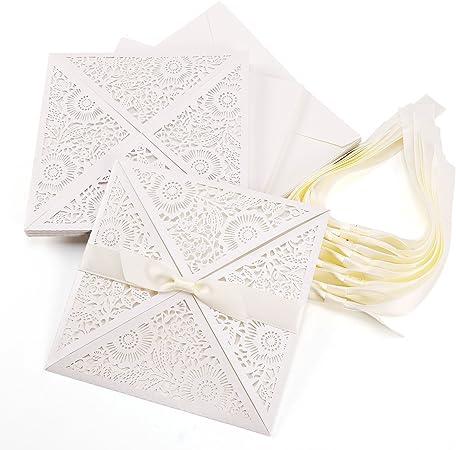 Partecipazioni Matrimonio Con Fiocco.10pz Carta Partecipazioni Inviti Segnaposto Decorazioni Per
