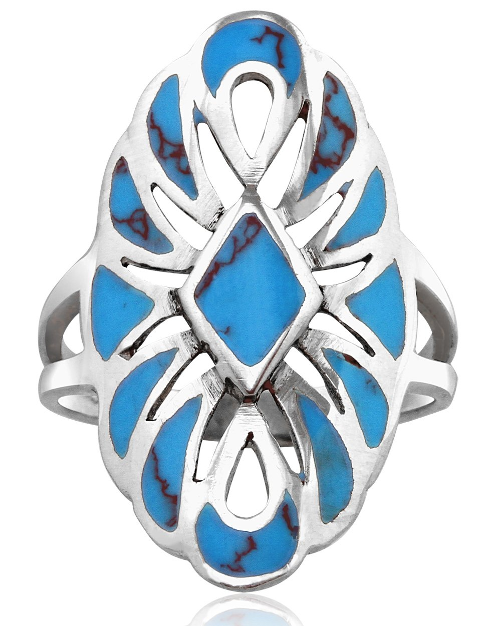 MIMI Sterling Silver Large Southwestern Native American Style Simulated Turquoise Ring (4.5)