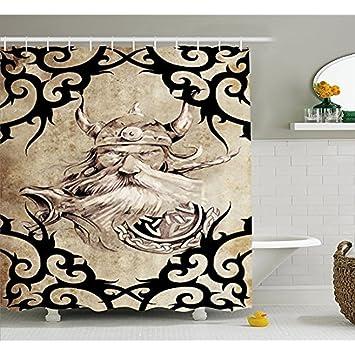 S&H Viking La cortina de la ducha, el patrón del tatuaje con antiguos guerreros vikingos