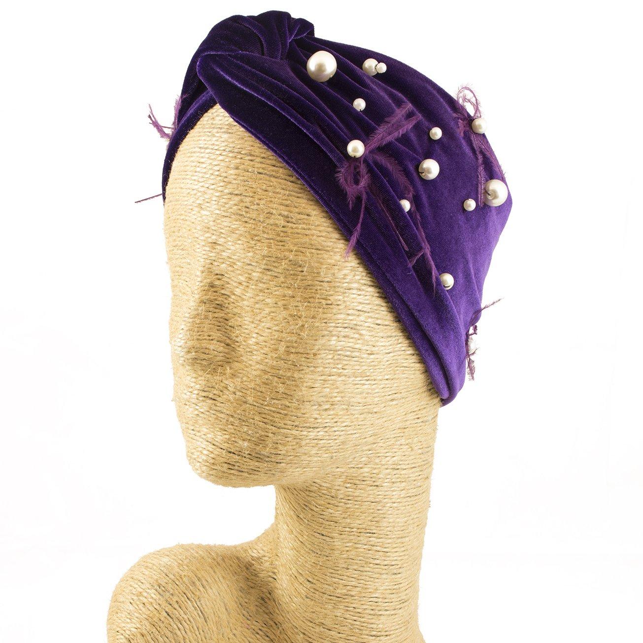 Fascinator, Velvet Headbands, Millinery, Worldwide Free Shipment, Delivery in 2 Days, Customized Tailoring, Designer Fashion, Pearl, Head wrap, Boho Accessories, Purple, Beaded Headbands, Jewelled