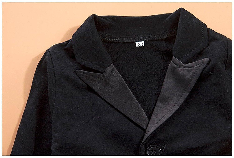 FOUNDO Baby Boys Tuxedo Wedding Romper and Jacket 2Pcs Formal Wear Suit Jumpsuit
