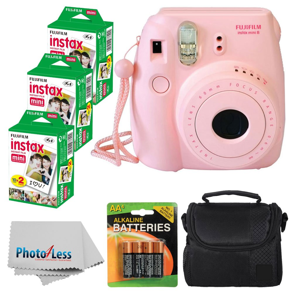 Fujifilm Instax Mini 8 Instant Film Camera (Pink) With Fujifilm Instax Mini 6 Pack Instant Film (60 Shots) + Compact Bag Case + Batteries Top Kit - International Version (No Warranty)