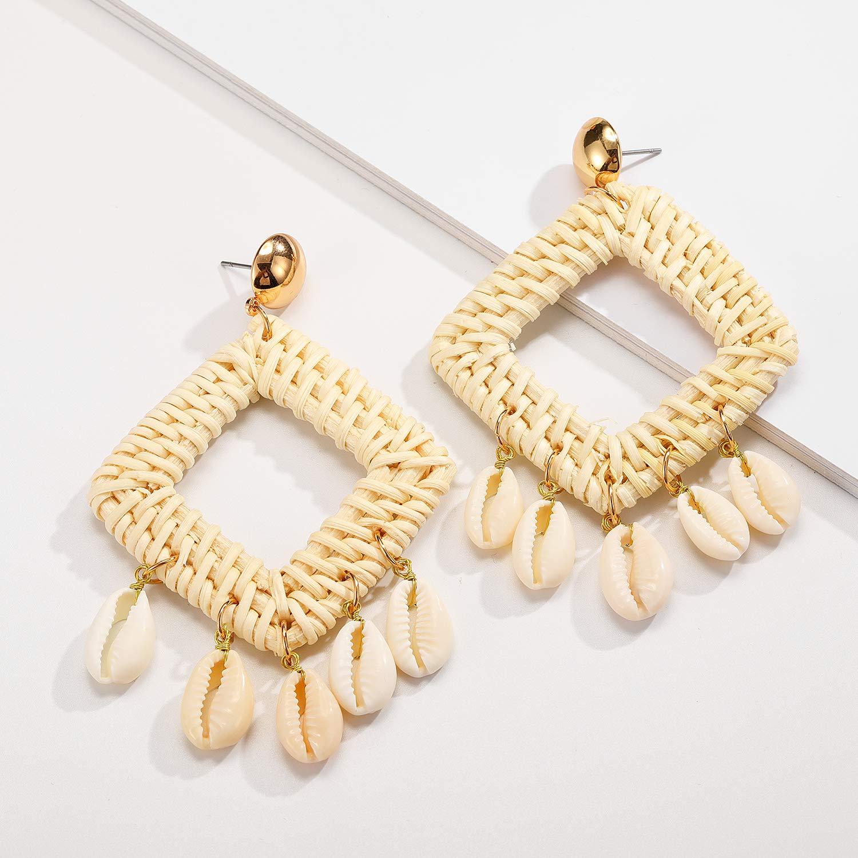 SHIWE Rattan Earrings for Women Handmade Straw Wicker Braid Geometric Statement Shells Boho Drop Dangle Earrings Girls
