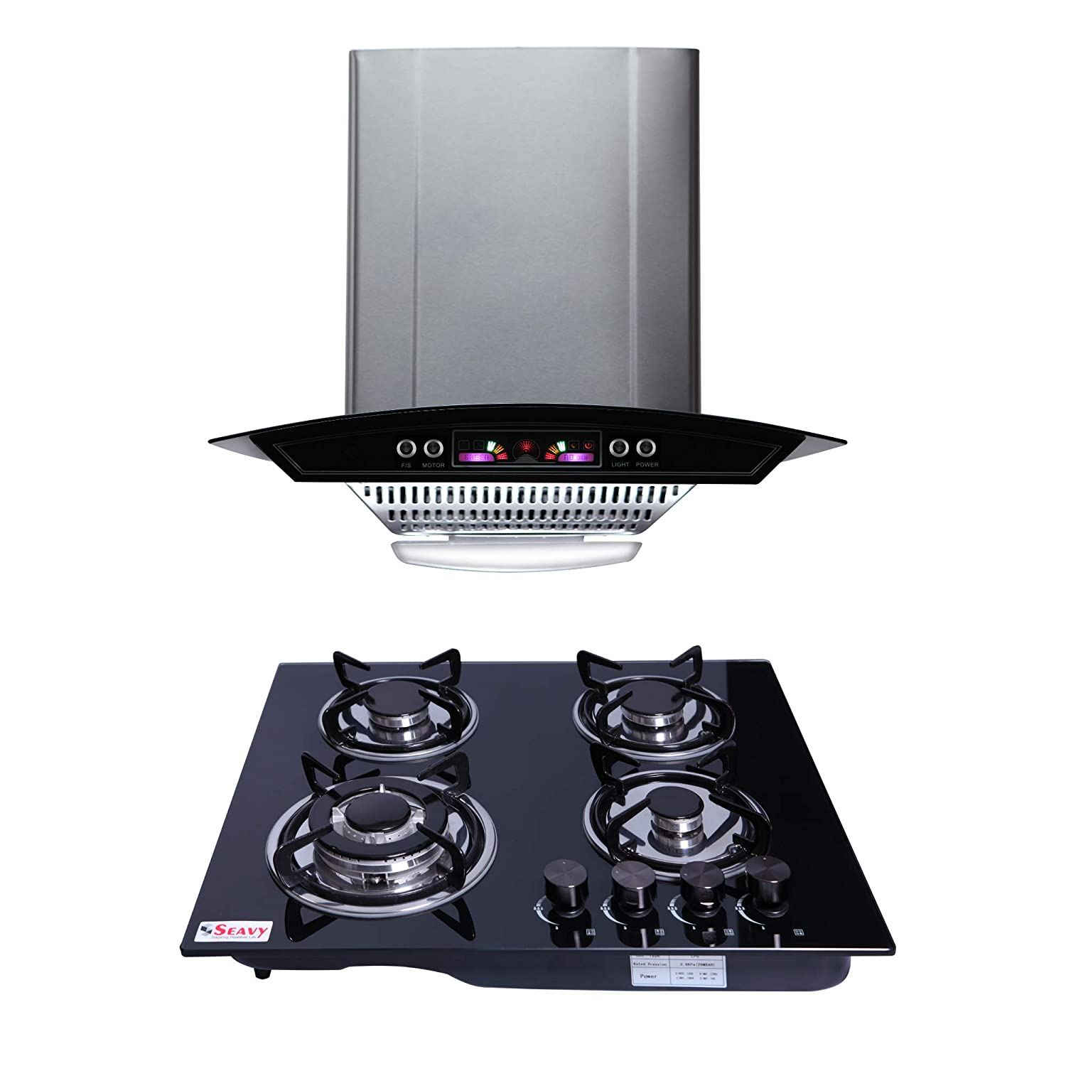 Seavy Kitchen Chimney Combo With Hob, 60cm 1100M3/hr Suction