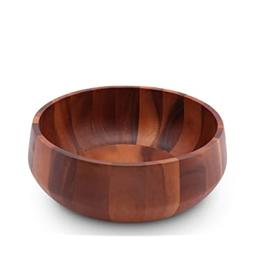 Arthur Court Acacia Wood Serving Bowl for Fruits or Salads Modern Round Shape Style Large 11  Diameter x 4.5  Tall Wooden Single Bowl