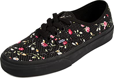 Floral Dots Authentic Womens Sneakers Black-Black (US Womens 5 B Medium)