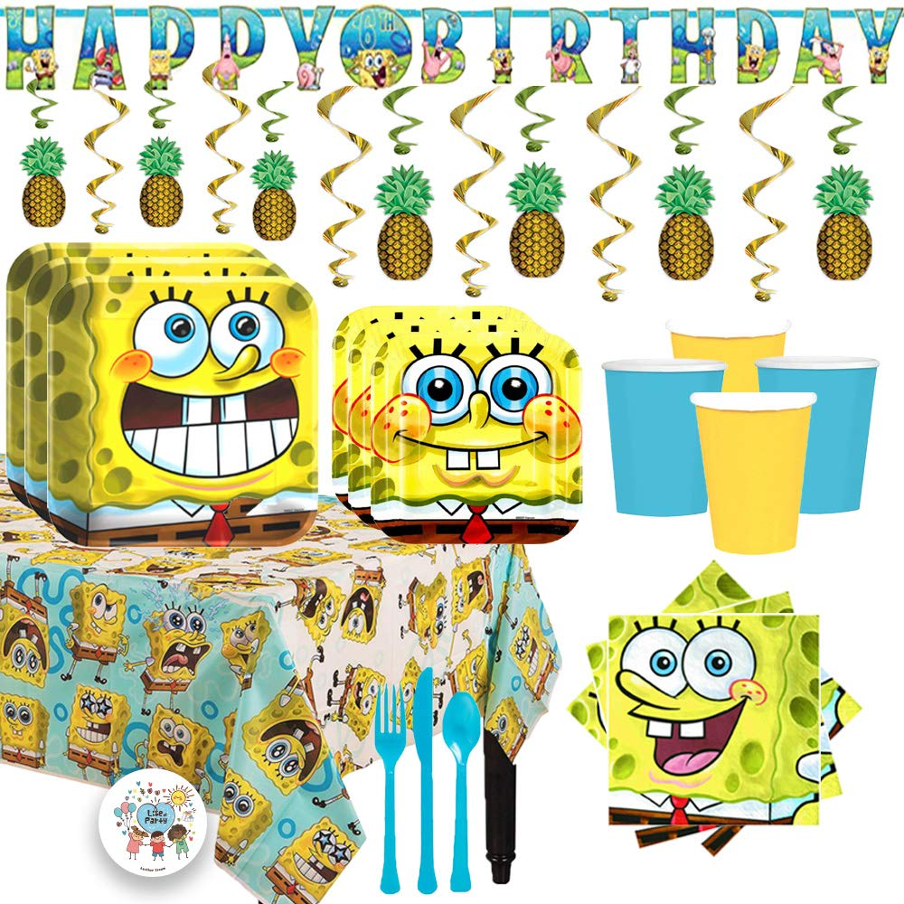 Deluxe Spongebob Squarepants Birthday Party Supplies Pack For 16 With Dinner and Dessert Plates, Napkins, Cups, Tablecover, Cutlery, Add-An-Age Banner, Pineapple Swirls, and Exclusive Pin