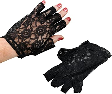 NEW LADIES LACEY GLOVES RED BLACK OR OFF WHITE