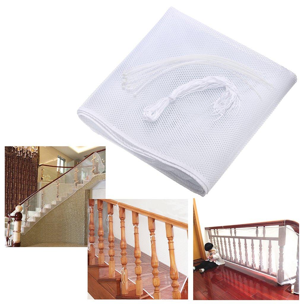 Sumnacon 2 mètre Filet de Protection pour Bébé et Enfant, Filet de Sécurité pour Balcon et Escalier, Solide et robuste, 77cm(hauteur) *200cm(longueur) (blanc) SunGiRay