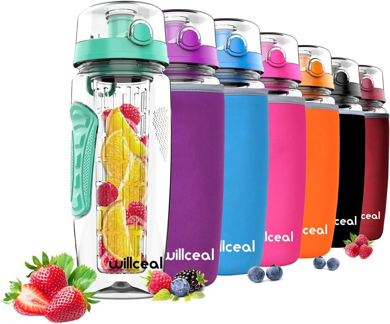 willceal Botella de Agua con Tapa para infusiones de Frutas, Resistente, con diseño a Prueba de Fugas, tamaño Grande, Libre de BPA, Ideal para Llevar Cuando Haces Deportes, para IR a Acampar, etc
