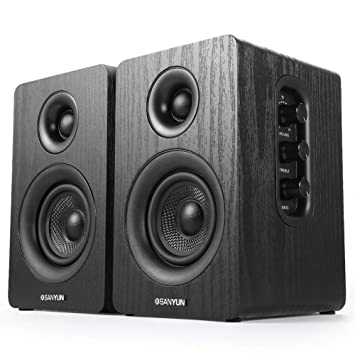 Sanyun Sw208 3 Active Bookshelf Speakers 2 0 Computer Speaker Hifi Steroe Sound With Treble And Bass Adjustment 3 5mm Audio Output Classic Wood