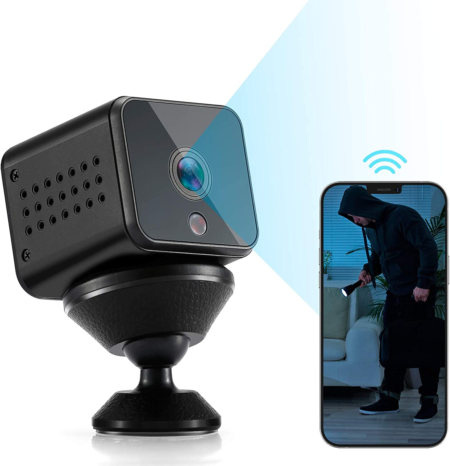 Spy Camera Mini WiFi Hidden Camera HAOHUNT HD 1080P with Audio Motion Detection Night Vision Nanny Surveillance Camera for Home Indoor Outdoor Security Camera with Built-in Battery, 32GB Micro SD Card