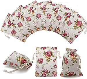"24 Pack Rose Double Drawstring Burlap Bags Gift Burlap Favor Bag Reusable Linen Bags Jewelry Pouches Sacks for Wedding Party, 3.7""x 4"""