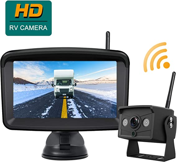 """Night Vision Backup Camera for Truck Trailer RV Wireless 4.3/"""" Rear View Monitor"""