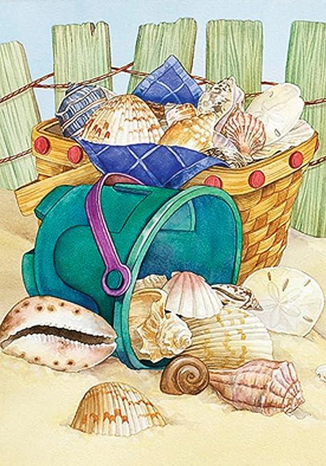 Amazoncom Toland Home Garden Beach Bucket 28 X 40 Inch Decorative - Conch-shell-house
