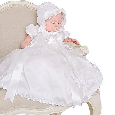 25d9971fbe5 Dressvip Bébé Fille Robe de Baptême de Cérémonie Enfant Longueur Ras du Sol  Manches Courtes en