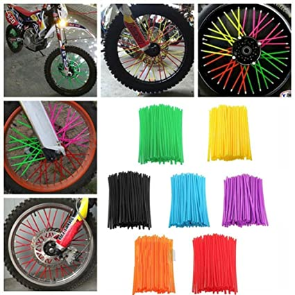 36pcs Motorcycle Wheel Spoked Wraps Skins Covers Motocross Dirtbike Dirt Bike Cool Accessories Rims Skins Covers Guard Protector Green