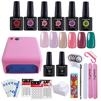 Coscelia 36w pink uv nail lamp dryer nail polish set and nail coscelia 36w pink uv nail lamp dryer nail polish set and nail brush and nail art prinsesfo Images