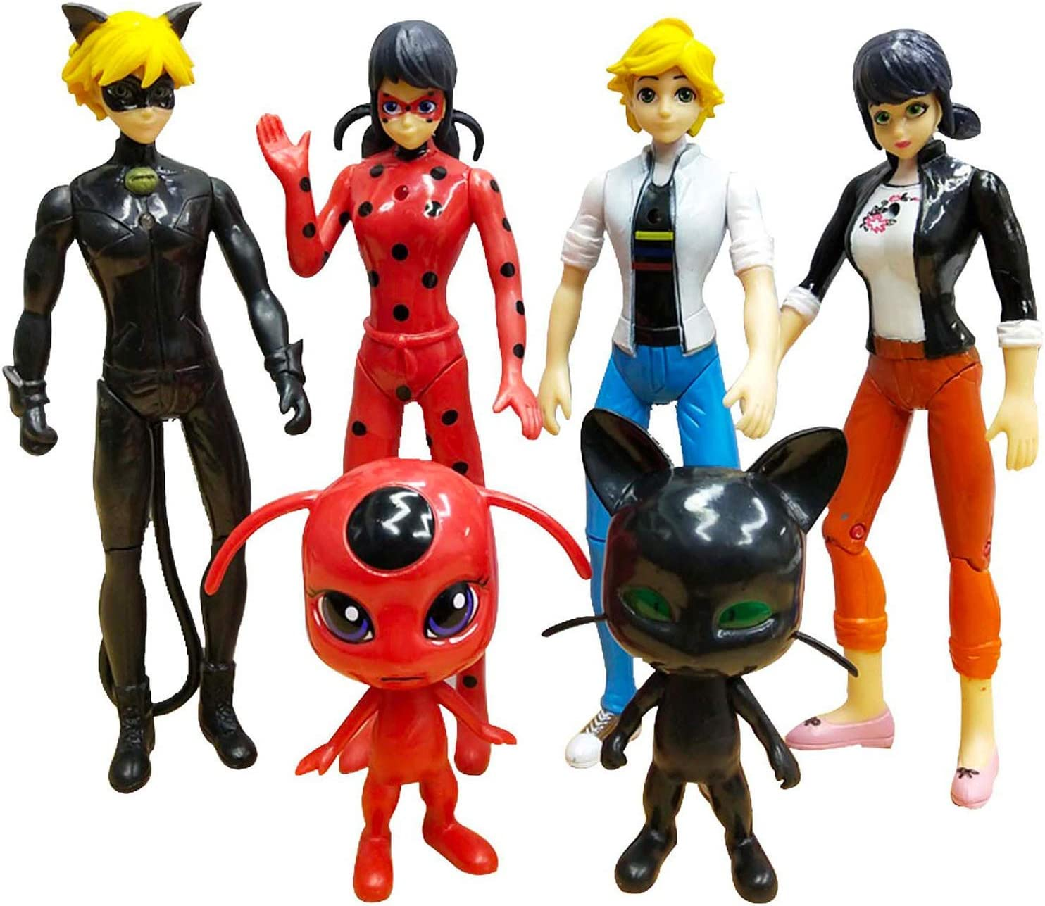 Jubasix Ladybug 6pcs Action Figure and cat Noir Miraculous Action Figures - Miraculous Toy Set Minifigures Tikki Dolls 6 Set