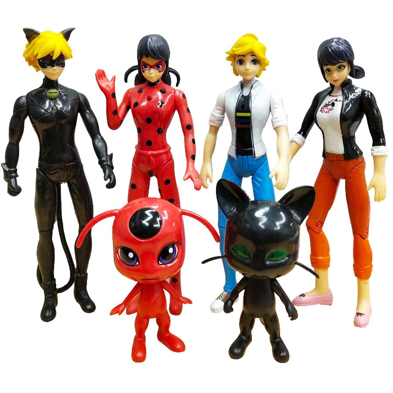MALUNGMA Ladybug Action Figure 6Pcs Miraculous Tikki Noir Cat Plagg Adrien Action Figures Toy Set Minifigures Kid's Gift Children Game