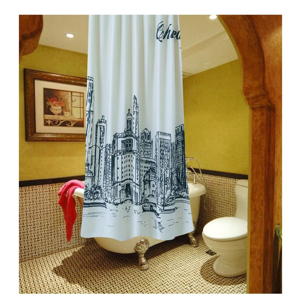 Yongyong Simple Hand-Painted Black and White City Shower Curtain European and American Sanitary Partition Curtain Waterproof Ventilated Shower Curtain Set to Send Hang Buckle by Yongyong (Image #1)
