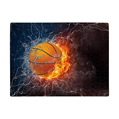 Personalized Basketball Ball on Fire and Water Puzzles Rectangle Jigsaw Puzzle with Funny Picture Art for Adults Children Wedding Anniversary Birthday A3 Size 252 Pieces: Toys & Games