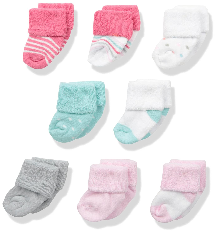 Luvable Friends Baby Boys' Newborn Socks, 8-Pack