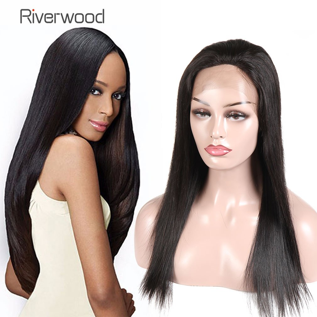 Malaysian Virgin Human Hair Lace Front Wigs 180% Density for Black Women Long Straight Pre Plucked Glueless Human Hair Wigs With Baby Hair Bleached knots Natural Black color 18inch by Riverwood (Image #1)