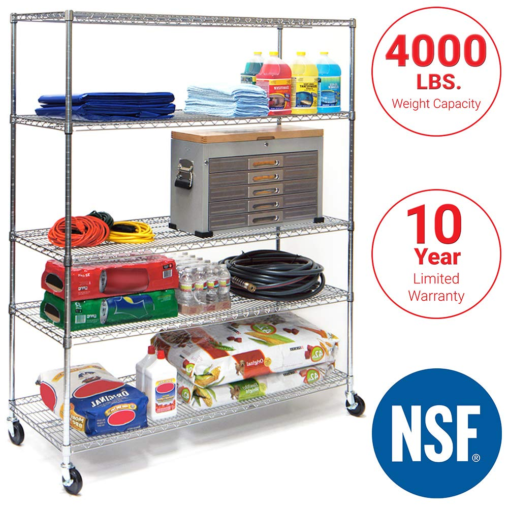 Seville Classics UltraDurable Commercial-Grade 5-Tier NSF-Certified Steel Wire Shelving with Wheels 60'' W x 24'' D Chrome