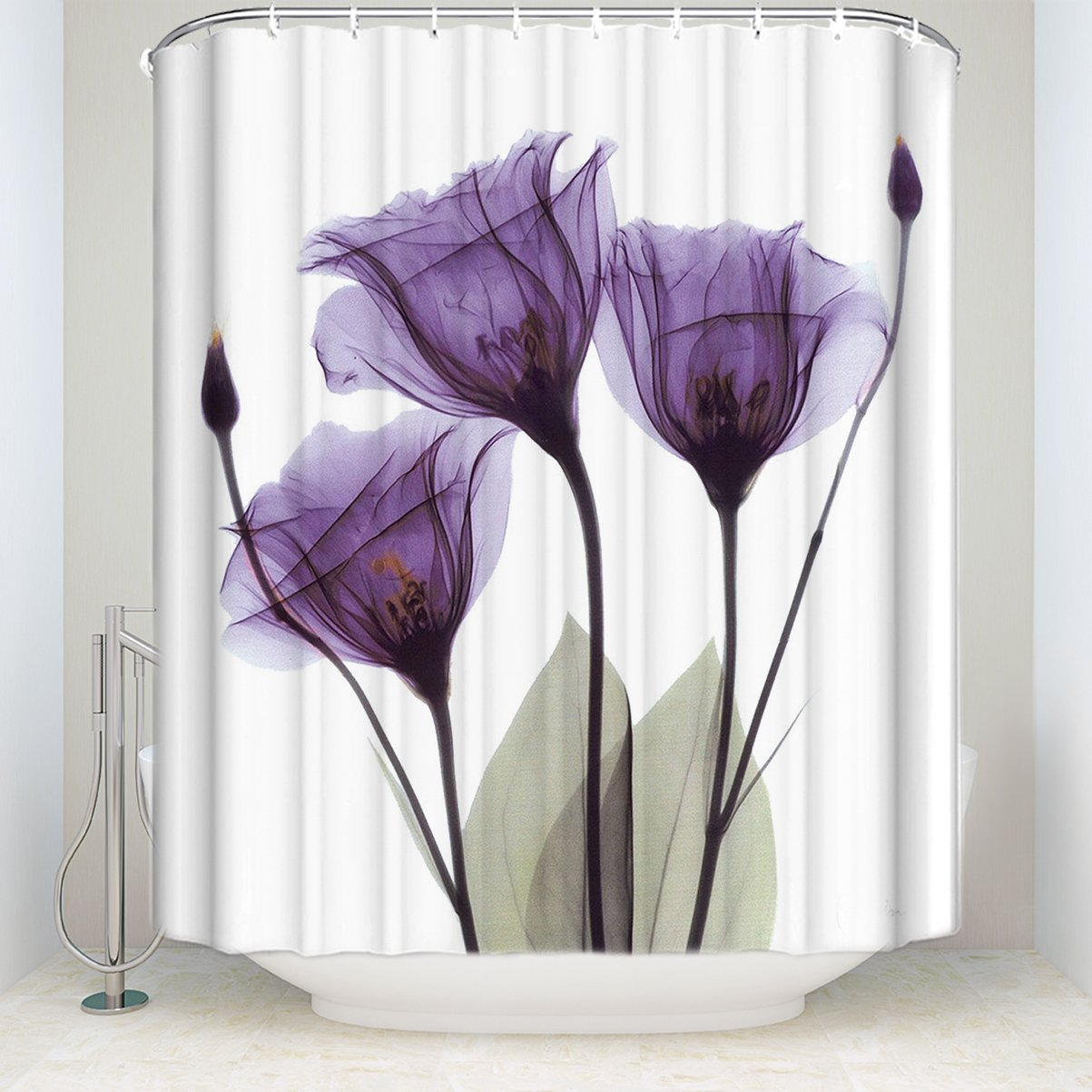 KAROLA Shower Curtain, Lavender Hope Waterproof and Anti Mildew Fabric Bathroom Shower Curtains, 72W by 72H