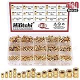 Hilitchi 460 Pcs M2 M3 M4 M5 Female Thread Brass Knurled Threaded Insert Embedment Nuts Assortment Kit, Embed Parts…