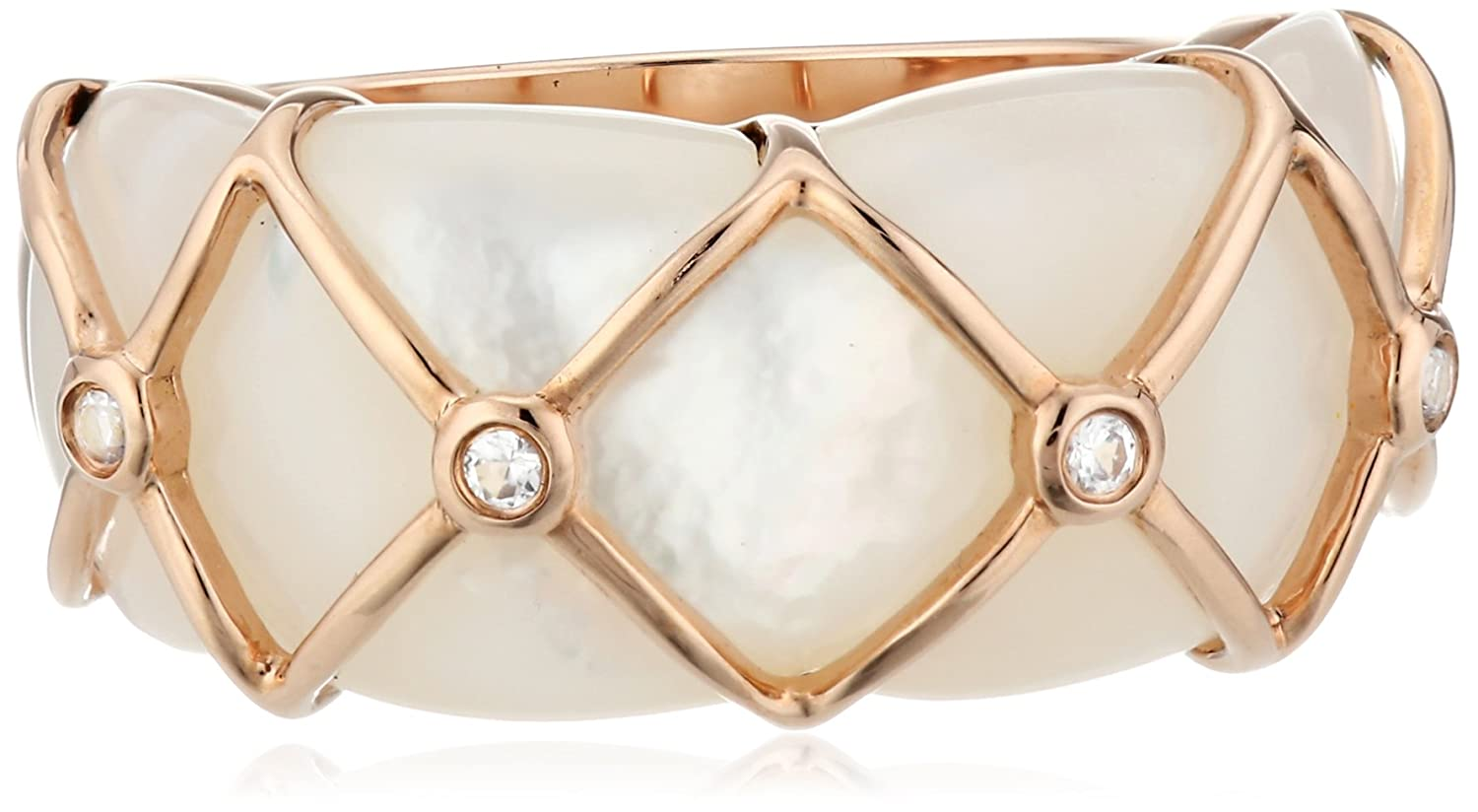 10k Pink Gold Fancy Cut Mother-Of-Pearl and Created White Sapphire Ring, Size 7