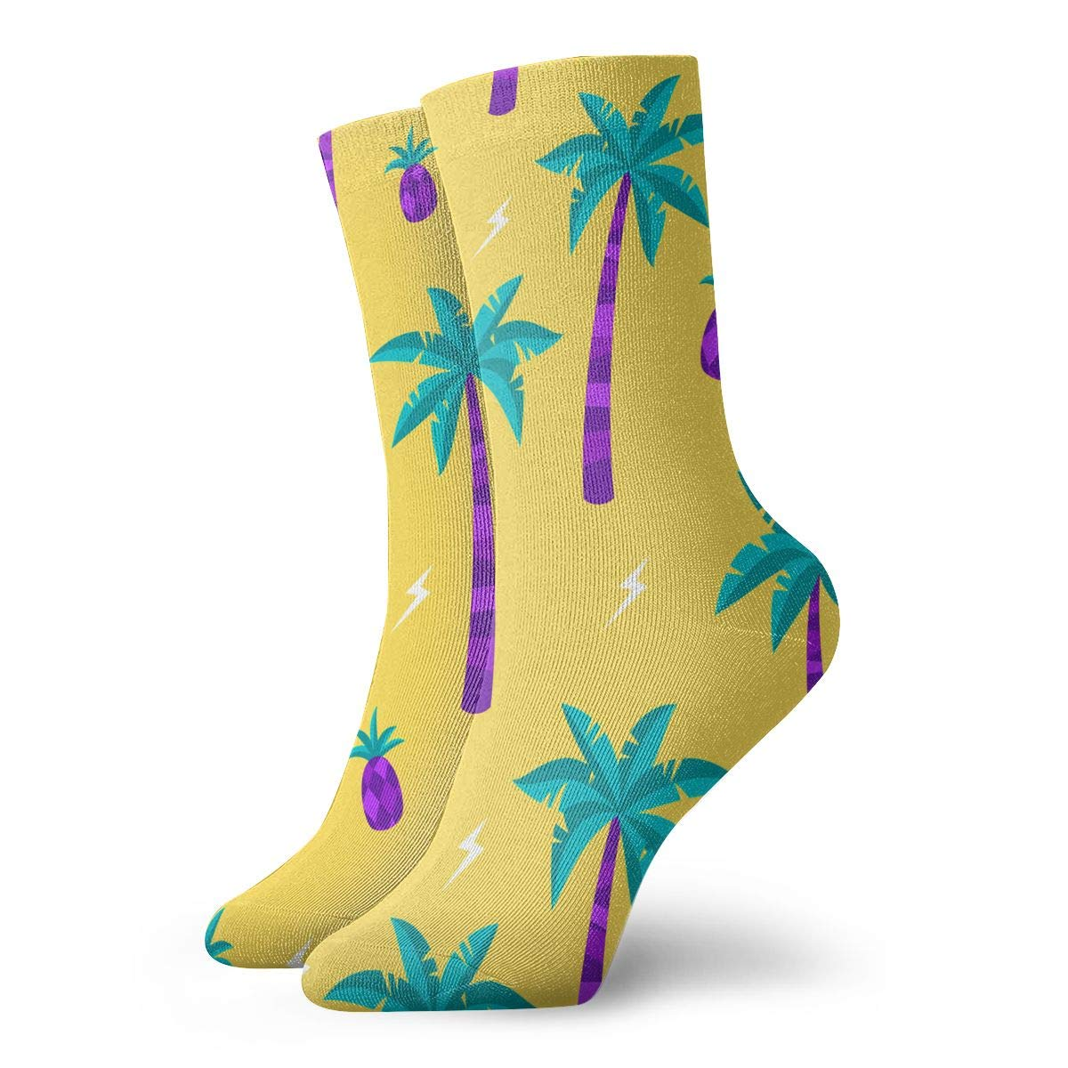Purple Coconut Palm And Pineapple Unisex Funny Casual Crew Socks Athletic Socks For Boys Girls Kids Teenagers