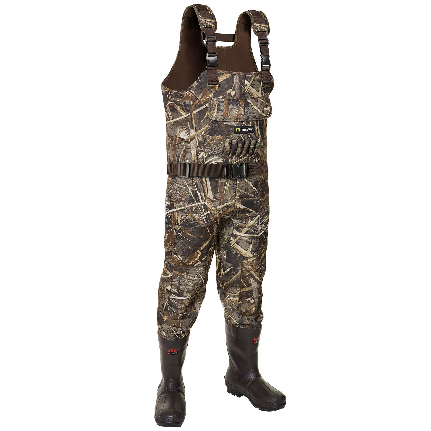 TideWe Chest Wader, Camo Hunting Wader for Men, Waterproof Cleated Neoprene Bootfoot Wader, Insulated Hunting & Fishing Wader Realtree MAX5 Camo (Insulation 800G Size 10) by TideWe