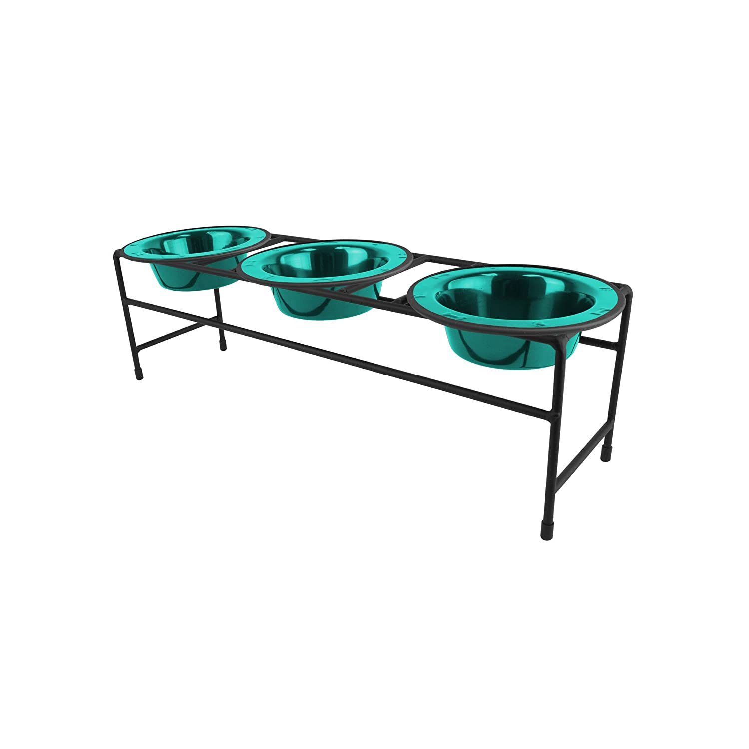 Caribbean Teal SPlatinum Pets Modern Triple Diner Feeder with Stainless Steel Cat Dog Bowls