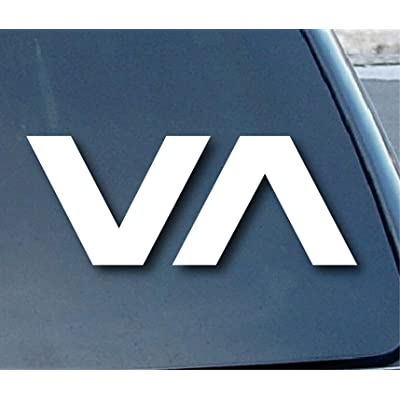 "RVCA VA Car Window Vinyl Decal Sticker 6"" Wide (Color: White): Everything Else"