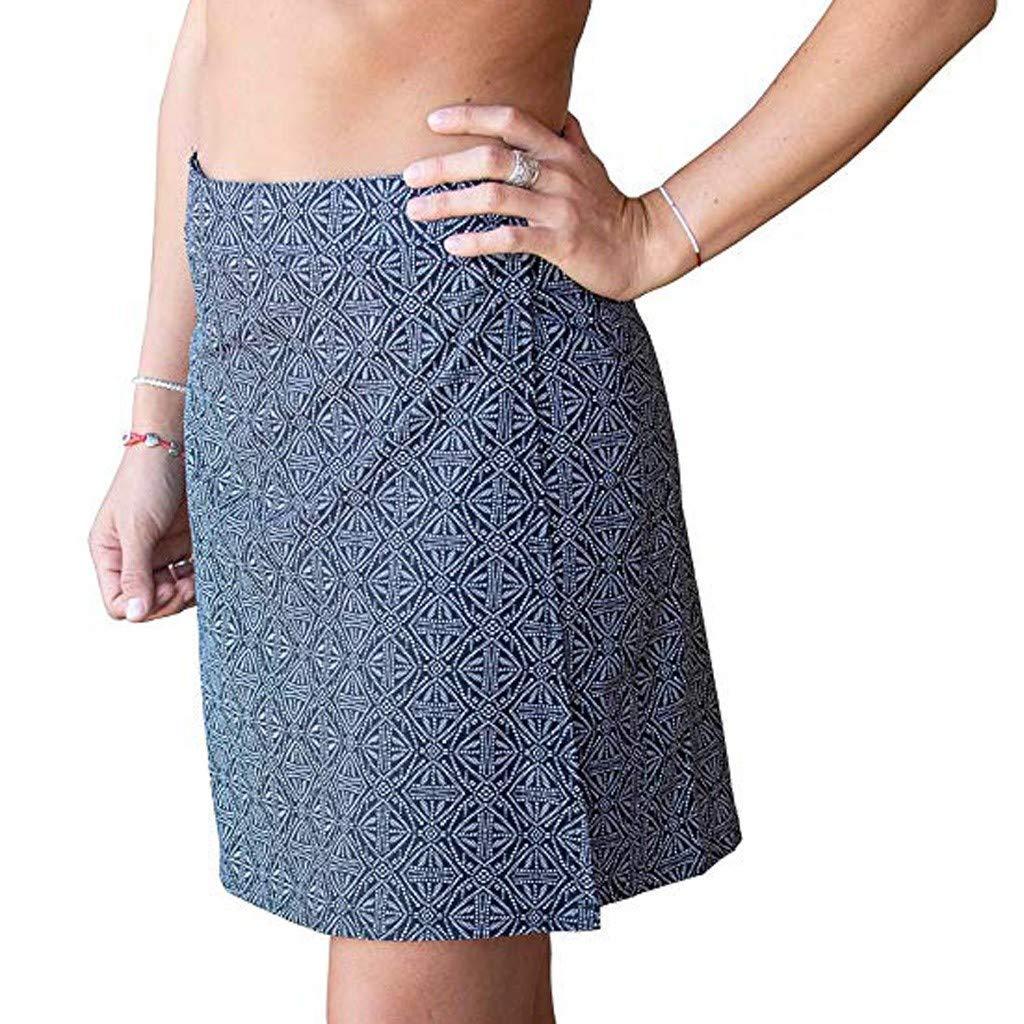 Ulanda Fashion Women's Boho Print Quick Wrap Bikini Cover-up Multitasks Travel Lady Beach Cover-ups Summer Skirt Black