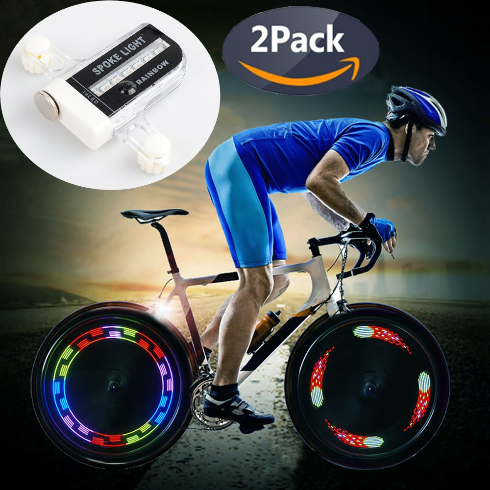 QANGEL Bike Wheel Lights, Waterproof Bike Spoke Lights Ultra Bright 14 LED Bicycle Wheel Lights,Safety Cool RGB Bike Tire Light for Kids Adults, 30 Patterns Changes, Auto & Manual Dual Switch (2 Pack)