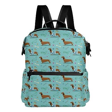 Cute patrón de perro salchicha verde ligero impermeable poliéster gran capacidad mochila Campus mochila de viaje
