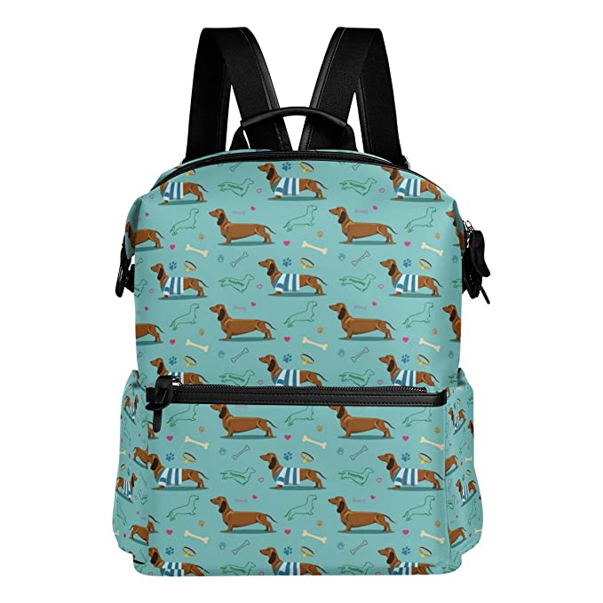 Amazon.com: Cute Dog Dachshund Pattern Green Lightweight Waterproof Polyester Large Capacity Backpack Campus Backpack Travel Daypack: LanKen