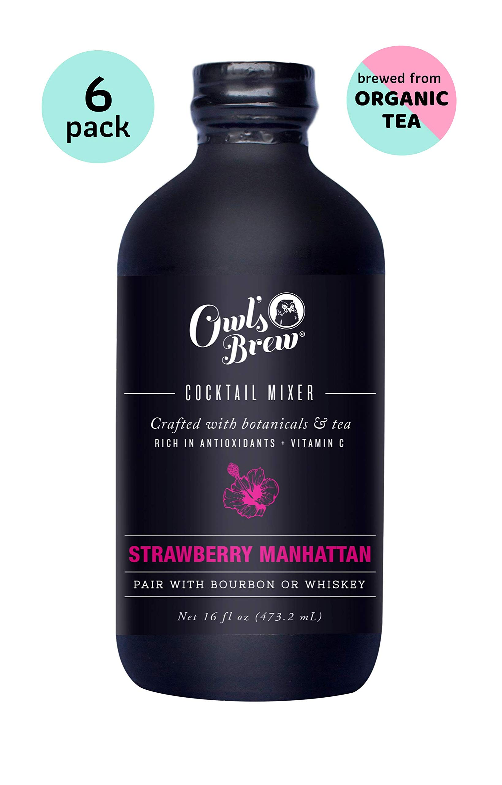 Owl's Brew Strawberry Manhattan Cocktail Mixer, 16 Ounce Bottle (Pack of 6) by OWL'S BREW