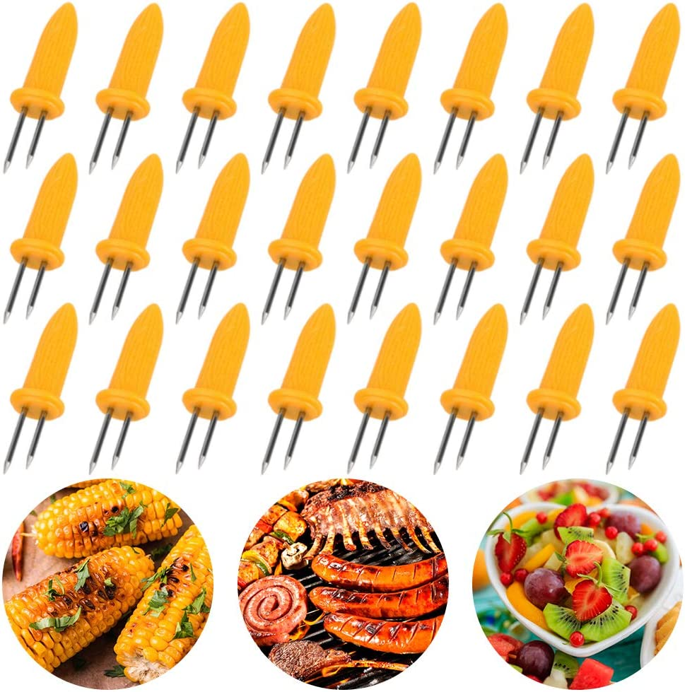 BigOtters 24PCS Corn Holders, Large Size Stainless Steel Corn Holder with Storage Box Twin Prong Sweetcorn Holder Corn on The Cob Skewers Fruit Fork for Kitchen Tool Outdoor Home BBQ Cooking