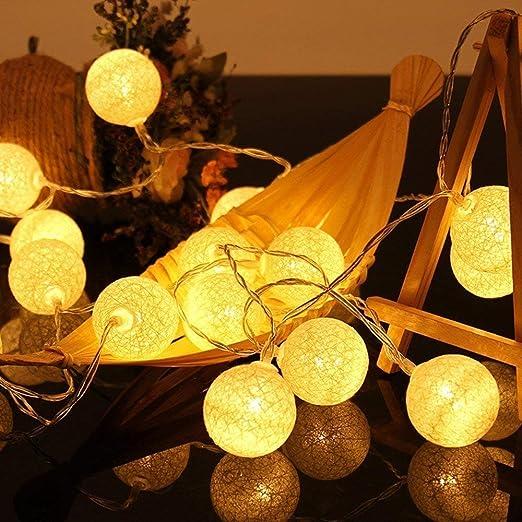 Zodight 3,8M Guirnalda Luces Interior, 20 Bolas de Algodón con ENCHUFE Conectable Resistente al agua IP44, Luz LED para Habitación Mesa Estante Patio Cafetería Fiesta Boda: Amazon.es: Iluminación