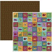 Kit Folhas para Scrapbook DF Coleções Dinossauros Selos, Toke e Crie SDF697, Multicor, Pacote de 12