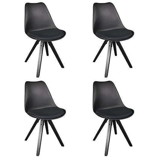Design Furniture Collection Tulip Style - Silla de comedor tapizada, juego de 4, color negro, moderna, para cocina, comedor, silla auxiliar con ...