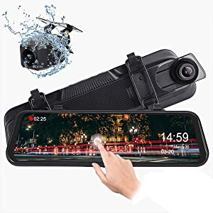 Mirror Dash Cam, Dual 1080P Front and Rear, 10 Inch Touch Screen Front 1080P 170° Full HD Front Camera, 140° Wide Angle 1080P Waterproof Rear View Camera, G-Sensor 24-Hour Parking Monitor
